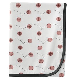 Kickee Pants Swaddling Blanket Natural Basketball