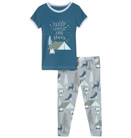 Kickee Pants SS Graphic Tee PJ Set Pearl Blue Wilderness