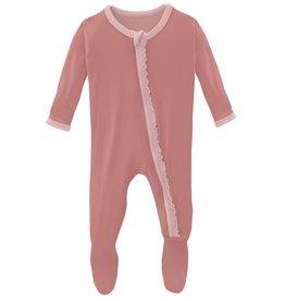 Kickee Pants Muff Ruff Footie Zipper Antique Pink/ Baby Rose