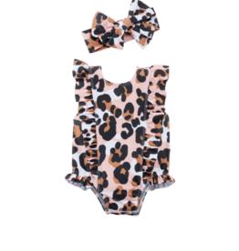 Mud Pie Leopard Swimsuit & Headband Set, 6/9M