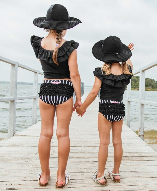 Ruffle Butts/Rugged Butts Black & White Stripe Ruffled Tankini