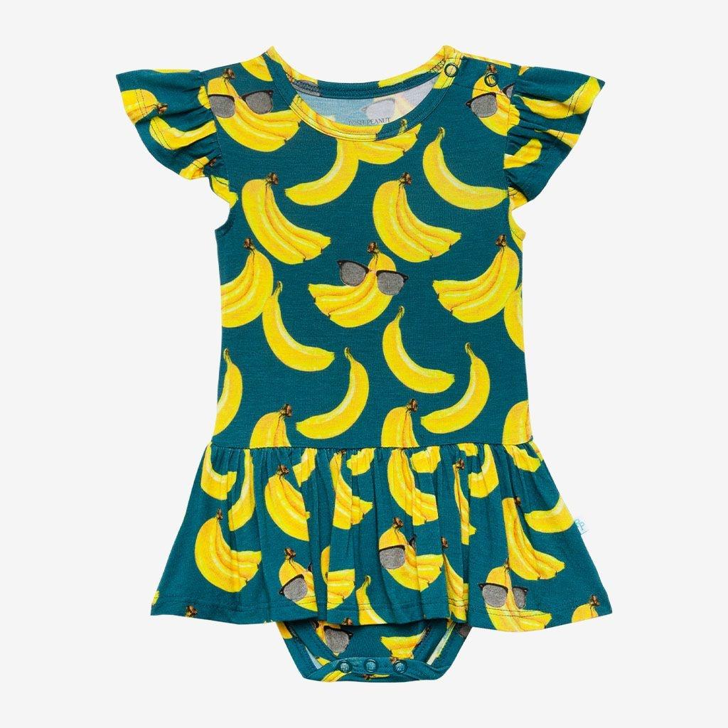 Posh Peanut Bananas Ruffled Capsleeve Twirl Skirt Bodysuit