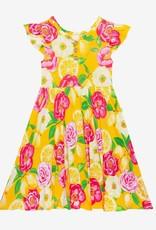 Posh Peanut Annika Ruffled Capsleeve Henley Twirl Dress