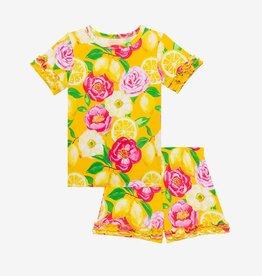 Posh Peanut Annika Basic SS Ruffled T-Shirt & Shorts Pajama Set
