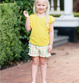 Ruffle Butts/Rugged Butts Lemon Butterfly Sleeve Top