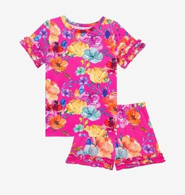 Posh Peanut Aminatu SS Ruffled T-Shirt & Shorts Pajama Set