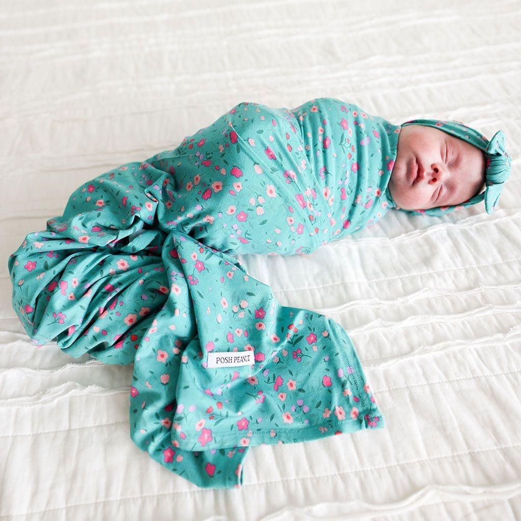 Posh Peanut Cassandra Infant Swaddle & Headwrap Set