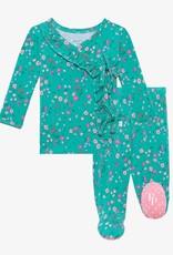 Posh Peanut Cassandra Tie Front Ruffled Kimono Set, 0/3M
