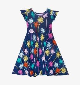 Posh Peanut Palmer Ruffled Capsleeve Basic Twirl Dress