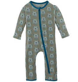 Kickee Pants Coverall w/ Zipper Silver Sage Wise Owls