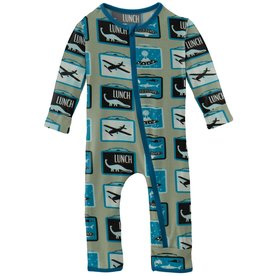 Kickee Pants Coverall w/ Zipper Silver Sage Lunchboxes