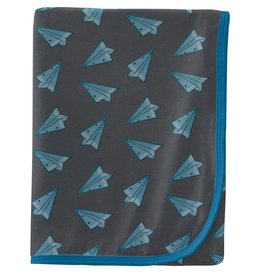 Kickee Pants Swaddling Blanket Lined Paper Airplanes