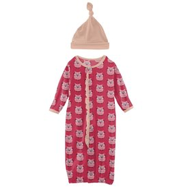 Kickee Pants Ruff Gown Conv & Hat Set Taffy Wise Owls