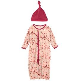Kickee Pants Ruff Gown Conv & Hat Set Peach Blossom Music