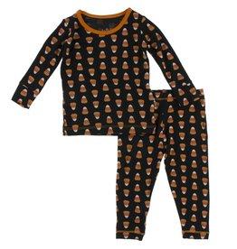 Kickee Pants LS PJ Set Midnight Candy Corn