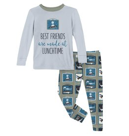 Kickee Pants LS Graphic Tee PJ Set Silver Sage Lunchboxes