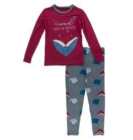 Kickee Pants LS Graphic Tee PJ Set Slate Flying Books