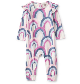 Tea Collection Printed Ruffle Shoulder Romper Rainbow Pink