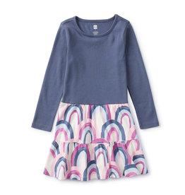 Tea Collection Tiered Skirt Dress Rainbow Pink