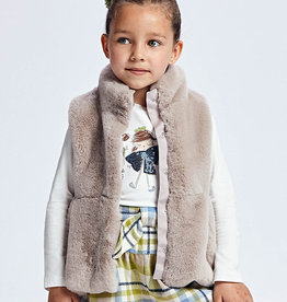 Mayoral Fur Vest Taupe