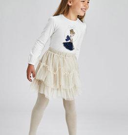 Mayoral Tulle Glitter Skirt Almond