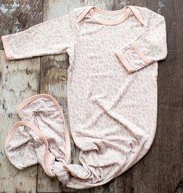 Bestaroo Pink Leopard Knot Gown, 0/3M