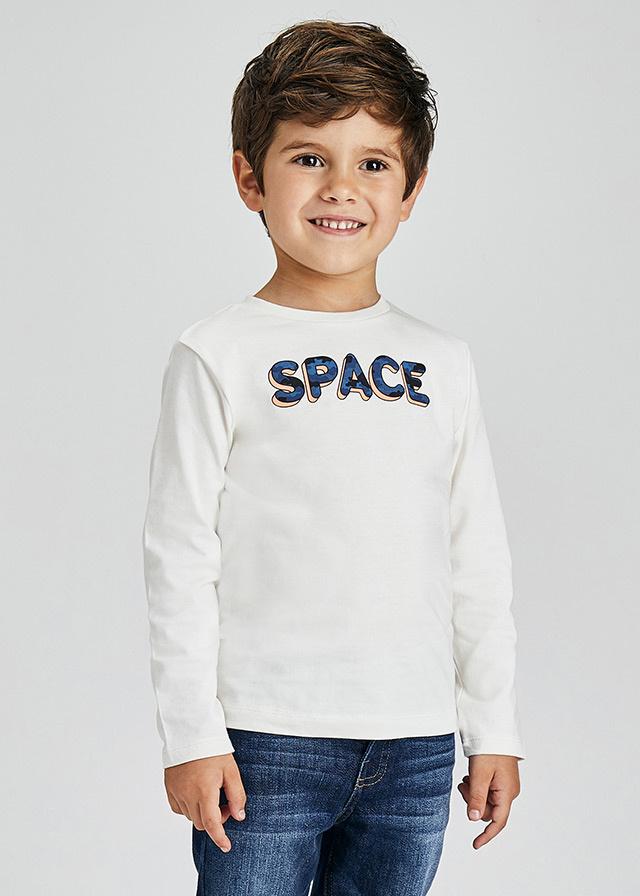 Mayoral 2 LS Sold/Stripe Shirt Set Cream