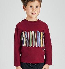 Mayoral LS Print Stripe Shirt Maroon