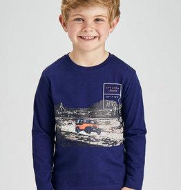 Mayoral LS Print Stripe Shirt Grape