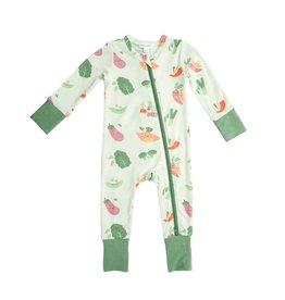 Angel Dear Veggie Family 2 Way Zipper Romper Green