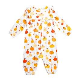 Angel Dear Pumpkin Ruffle Sleeve Romper Orange