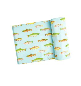 Angel Dear Freshwater Fish Swaddle Blanket Blue 45 x 45