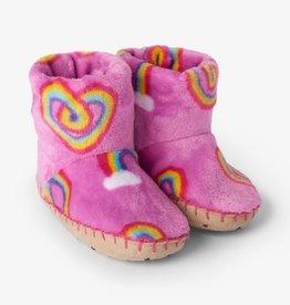 Hatley Twisty Rainbow Hearts Fleece Slippers