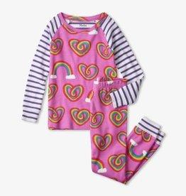 Hatley Twisty Rainbow Hearts Organic Cotton Raglan PJ Set