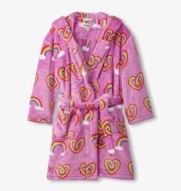 Hatley Twisty Rainbow Hearts Fleece Robe