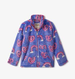 Hatley Twisty Rainbow Hearts Fuzzy Fleece Zip Up
