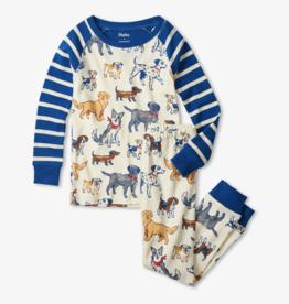 Hatley Blue Pups Organic Cotton Raglan PJ Set