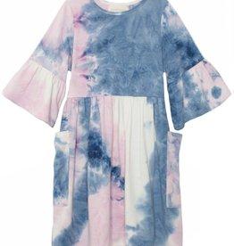 Mabel & Honey Frilly Lady Knit Tie Dye Dress Purple