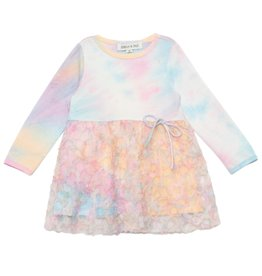 Mabel & Honey Cotton Candy Tie Dye Knit Dress Pink