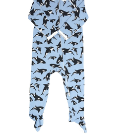 Sweet Bamboo Piped Zipper Footie Orca