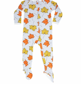 Sweet Bamboo Piped Zipper Footie Leaves Grey