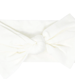 Sweet Bamboo Baby Bow Whispery White Ribbed