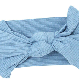 Sweet Bamboo Baby Bow Faded Denim Ribbed
