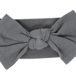 Sweet Bamboo Baby Bow Charcoal Ribbed
