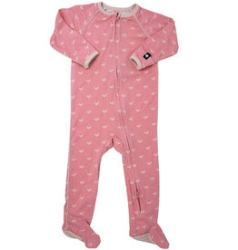 Sweet Bamboo Piped Zipper Footie Polka Hearts Pink