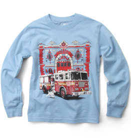 Wes And Willy Fire Truck LS Tee NC Blue