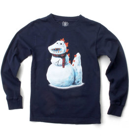 Wes And Willy Snow Dino LS Tee Midnight