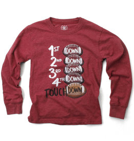 Wes And Willy Touchdown LS Tee Deep Maroon Blend