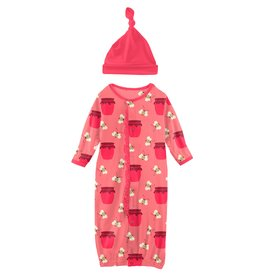 Kickee Pants Ruff Gown Conv & Hat Set Strawberry Bees