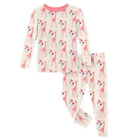 Kickee Pants LS PJ Set Nat Balloon Giraffe